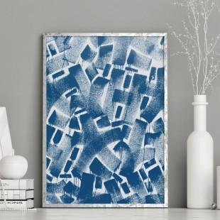 Abstraktný plagát na stenu modrej farby