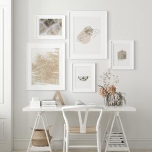 Plagát na stenu s abstraktným motívom béžovej farby