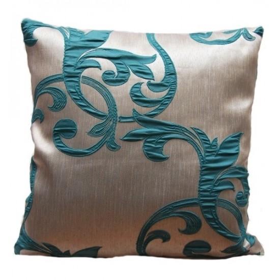 Béžovo tyrkysová dekoračná obliečka na vankúšik