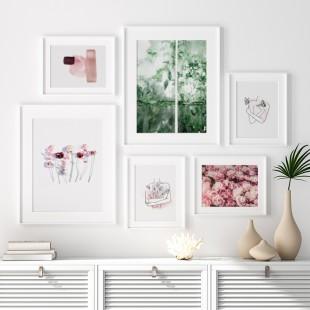 Biely plagát na stenu s abstraktným motívom v ružových odtieňoch