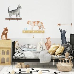 Sústava detských nálepiek na stenu s motívom mačiatok