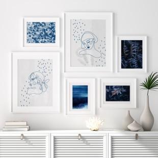 Minimalistický lineárny plagát na stenu v odtieňoch modrej a šedej farby