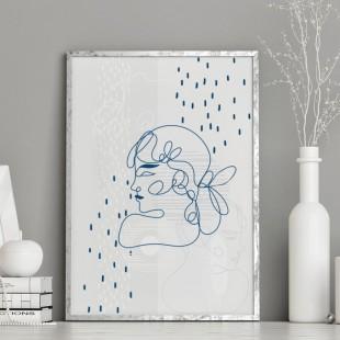 Minimalistický lineárny plagát na stenu modrej farby - Žena z profilu