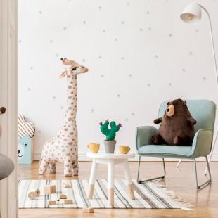 Sústava nálepiek detských pastelových bodiek na stenu