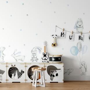 Sada nálepiek na stenu s motívom pastelových zajkov