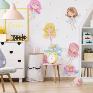 Sústava detských nálepiek na stenu s motívom lesných víl