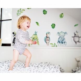 Sada detských nálepiek na stenu s motívom tropických zvierat