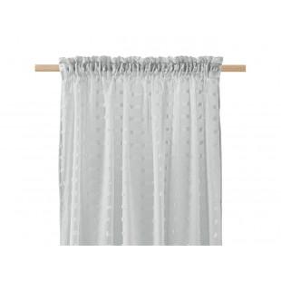 Svetlosivá záclona na štipčeky so štvorčekovým vzorom