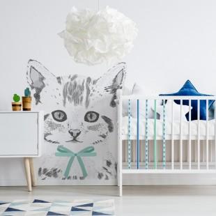 Detská nálepka na stenu s motívom mačiatka s modrou mašľou na krku