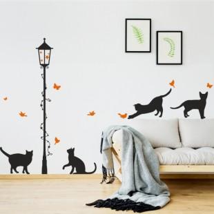 Detská nálepka na stenu s motívom mačiatok a lampy