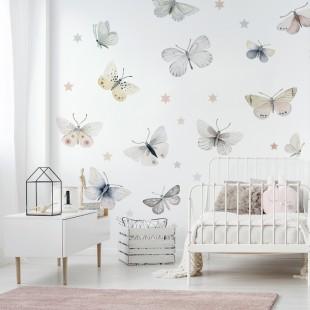 Detské nálepky na stenu s motívom motýľov
