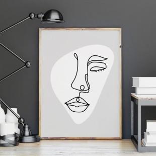 Plagát na stenu - čierna lineárna kresba tváre