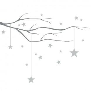 Detská nálepka na stenu s motívom vetvičky s hviezdami