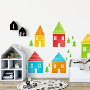 Detská nálepka na stenu s motívom farebných domčekov