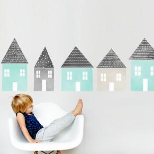 Detská nálepka na stenu s motívom mätovo-pastelových domčekov