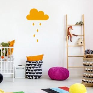 Detská nálepka na stenu s motívom mráčika a daždových kvapiek