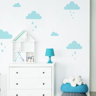 Detské nálepky na stenu s motívom mráčikov a dažďových kvapiek