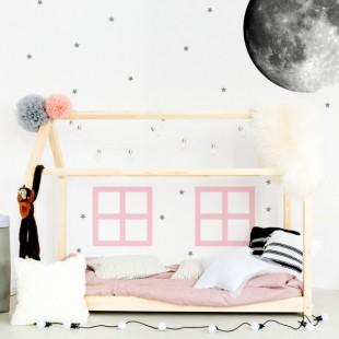 Detská nálepka na stenu s motívom okien pastelových farieb