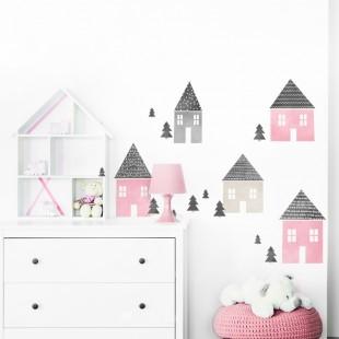 Detská nálepka na stenu s motívom ružových domčekov