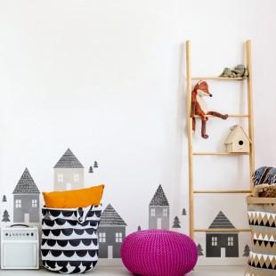 Detská nálepka na stenu s motívom domčekov sivej farby