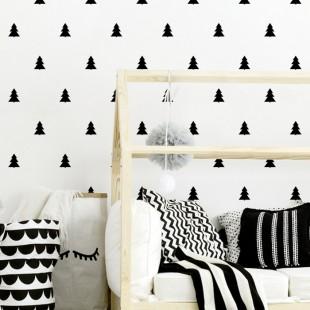 Detská nálepka na stenu s motívom vianočných stromčekov