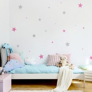 Detské nálepky na stenu s motívom dvojfarebných hviezd