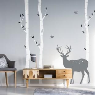 Nálepka na stenu Brezy a jeleň