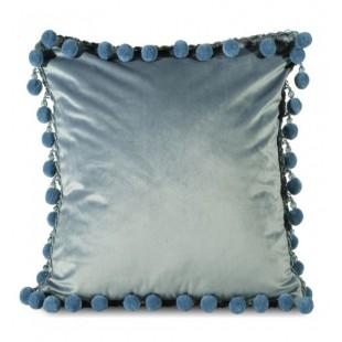Modrá dekoračná obliečka na vankúš s brmbolcami