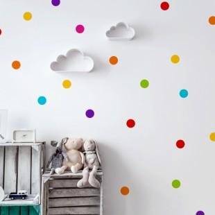 Detská nálepka na stenu s motívom farebných bodiek