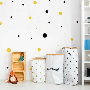 Detské nálepky na stenu s motívom dvojfarebných bodiek