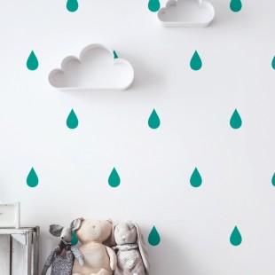 Detské nálepky na stenu s motívom dažďových kvapiek