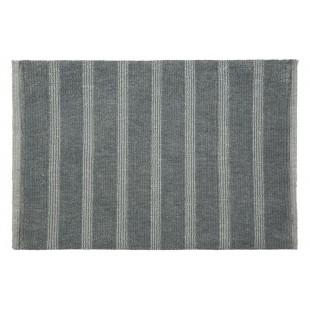 Kúpeľňový pásikavý sivý koberček