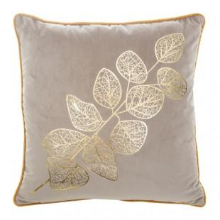 Obliečka na dekoračný vankúš béžová so zlatým rastlinným vzorom