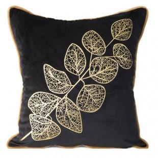 Obliečka na dekoračný vankúš čierna so zlatým vzorom