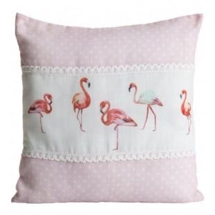Bielo ružová dekoračná obliečka na vankúš vzor plameniaky
