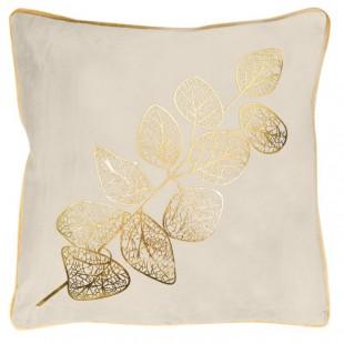 Obliečka na dekoračný vankúš krémová so zlatým rastlinným  vzorom