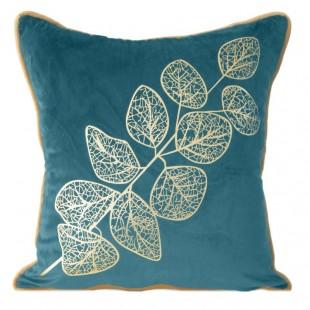 Obliečka na dekoračný vankúš tyrkysová so zlatým rastlinným vzorom