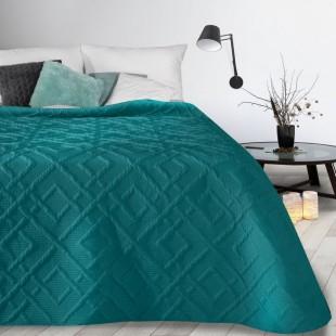 Tyrkysový mäkký prehoz na posteľ s prešívaním