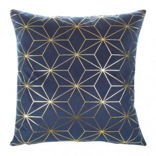 Tmavomodrá mäkká obliečka na dekoračný vankúš so zlatým vzorom