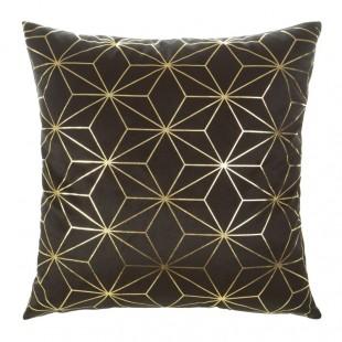 Čierna mäkká obliečka na dekoračný vankúš so zlatým vzorom