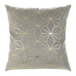 Sivá mäkká obliečka na dekoračný vankúš so zlatým vzorom