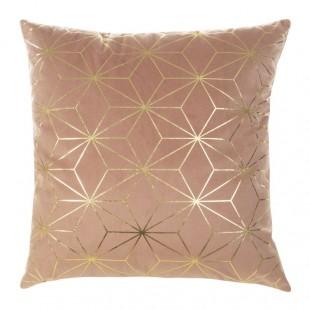 Ružová mäkká obliečka na dekoračný vankúš so zlatým vzorom