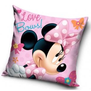Ružová obliečka na dekoračný vankúš s myškou Minnie