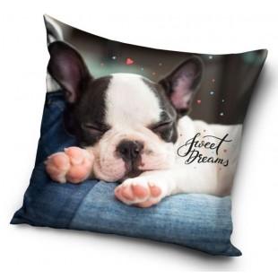 Detská sivá obliečka na dekoračný vankúš so psíkom a nápisom Good night