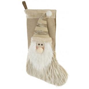 Béžová dekoračná čižma s vianočným škriatkom