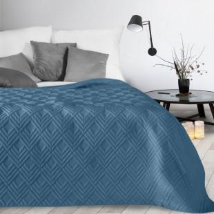 Tmavomodrý mäkký prehoz na posteľ