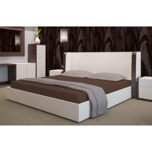 Froté posteľná plachta s gumičkou v čokoládovej farbe