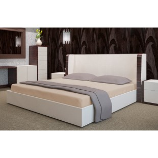 Béžová flanelová plachta na posteľ s gumičkou