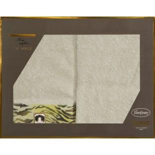 Sada 2 bavlnených béžových ručníkov