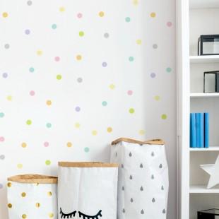 Detské nálepky na stenu s motívom farebným bodiek